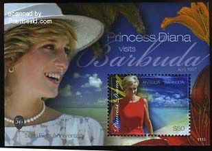 Princess Diana visits Barbuda s/s