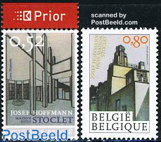 Josef Hoffmann 2v (1v with prior tab), joint issue