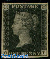 1p Black, plate 6, very fine unused copy, good to large four margins, lettered OI, with attest Brand