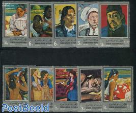 Gaugin paintings 10v, silver borders