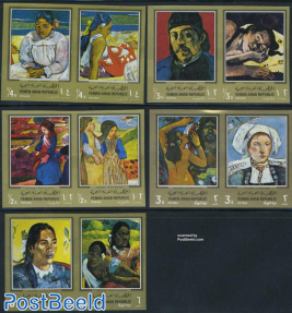 Gaugin paintings 10v, gold borders imperforated