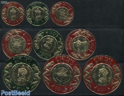 Maharadja 9v, thick round stamps