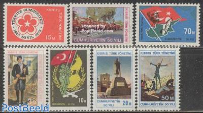 Turkish republic 50th anniversary 7v