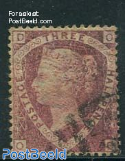 3/2p Carminered, Queen Victoria