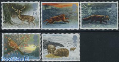 Winter, animals 5v
