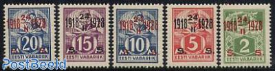 Definitives, overprinted 5v