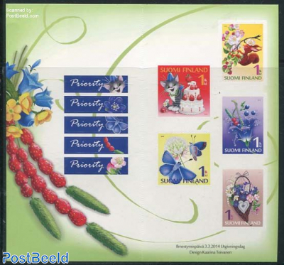 Greeting stamps 5v s-a in foil booklet
