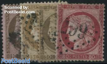 Definitives, Ceres, large numbers, 4v