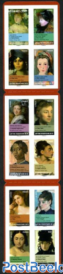 Women on paintings 12v s-a in booklet