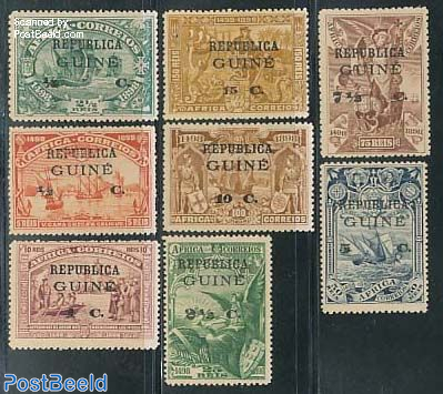 Vasco da Gama 8v on stamps of Portugese Africa