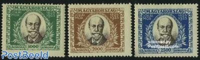 M. Jokais birth centenary 3v