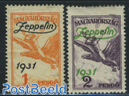 Zeppelin overprints 2v