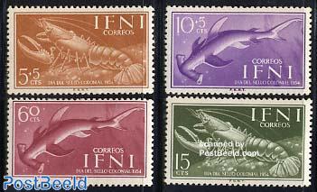 Stamp Day, marine life 4v