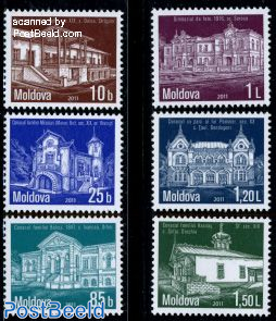 Definitives, buildings 6v