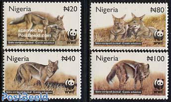 WWF 4v, side striped jackal