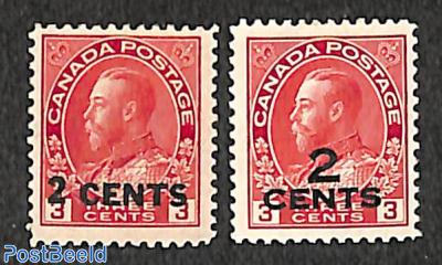 Overprints 2 cents 2v