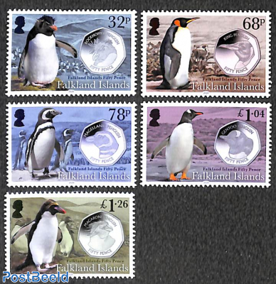 Penguin and coins 5v