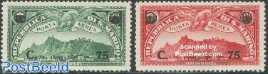 Airmail overprints 2v