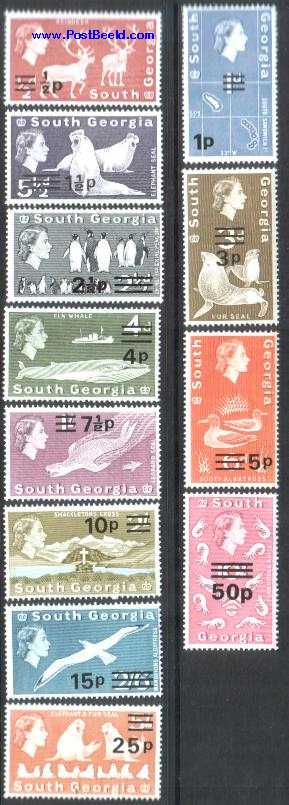 Definitives, overprints 12v