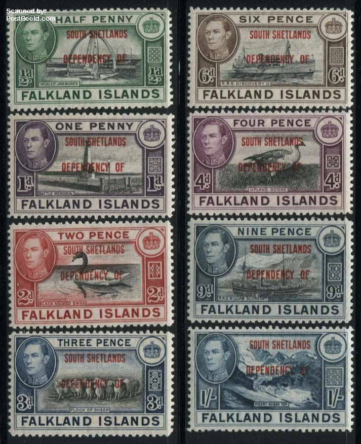 South Shetlands, definitives 8v