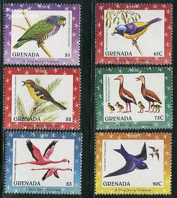Christmas, birds 6v