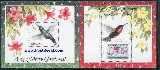 Christmas, birds 2 s/s