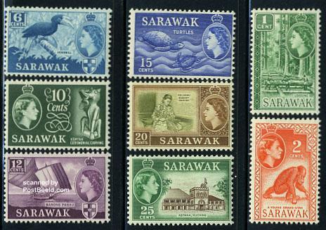 Sarawak, definitives 8v