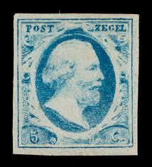 5c blue, King Willem III 1v