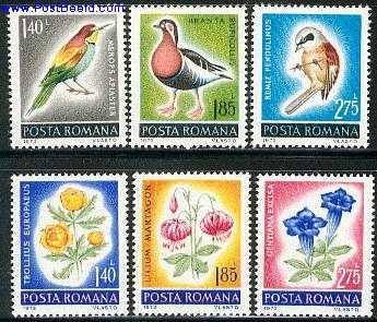 Birds, flowers 6v