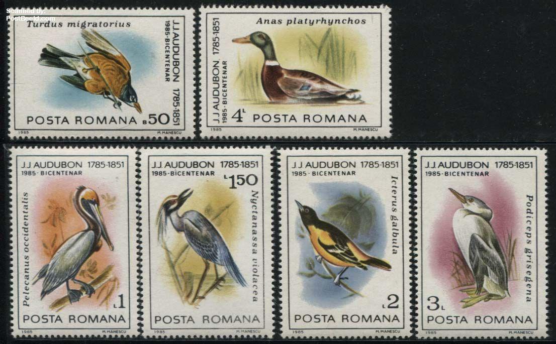 J.J. Audubon, birds 6v