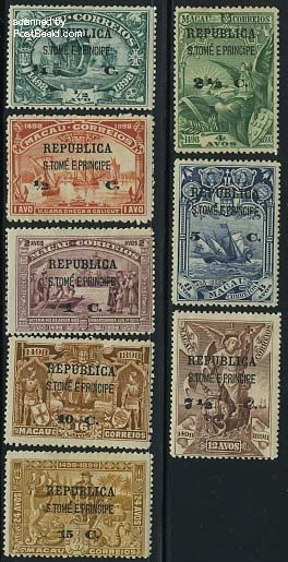 Overprints on Macau stamps 8v