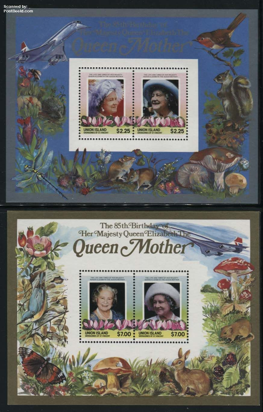 Union Island, Queen mother 2 s/s